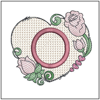 "Heart Monogram  ABCs - O - Fits a 4x4"" Hoop - Machine Embroidery Designs"