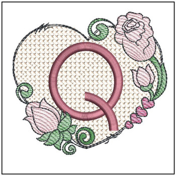 Heart Monogram ABCs - Q - Embroidery Designs