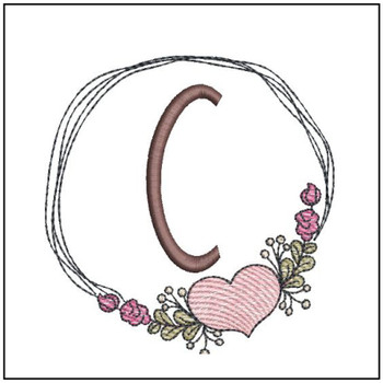Heart Stain  ABCs - C - Embroidery Designs
