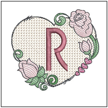 "Heart Monogram  ABCs - R - Fits a 4x4"" Hoop - Machine Embroidery Designs"