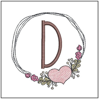 "Heart Stain  ABCs - D - Fits a 4x4"" Hoop - Machine Embroidery Designs"
