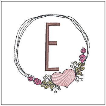 "Heart Stain  ABCs - E - Fits a 4x4"" Hoop - Machine Embroidery Designs"