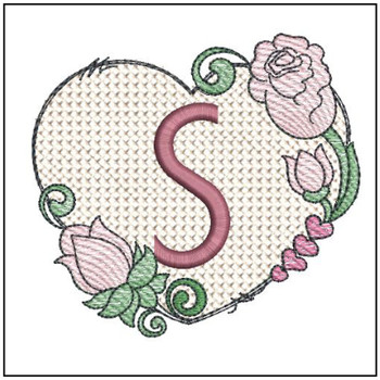 "Heart Monogram  ABCs - S - Fits a 4x4"" Hoop - Machine Embroidery Designs"