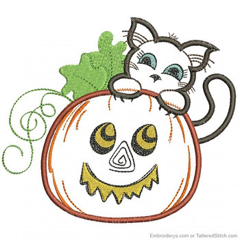 Pumpkin Peeking Kitty - Embroidery Designs