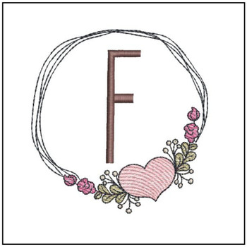 "Heart Stain  ABCs -F- Fits a 4x4"" Hoop - Machine Embroidery Designs"
