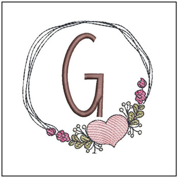 "Heart Stain  ABCs -G- Fits a 4x4"" Hoop - Machine Embroidery Designs"