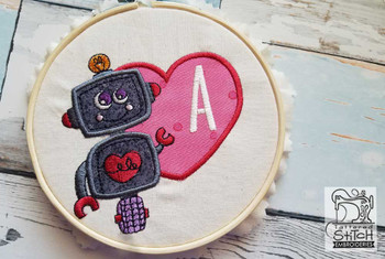 "Robot Applique ABCs - B - Fits a 4x4"" Hoop - Machine Embroidery Designs"