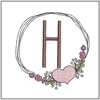 "Heart Stain  ABCs -H- Fits a 4x4"" Hoop - Machine Embroidery Designs"