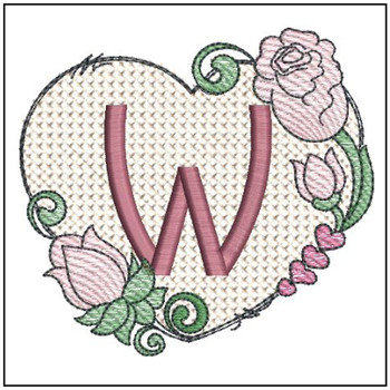 "Heart Monogram  ABCs -W- Fits a 4x4"" Hoop - Machine Embroidery Designs"
