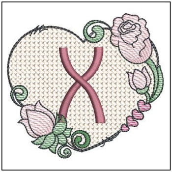 "Heart Monogram  ABCs -X- Fits a 4x4"" Hoop - Machine Embroidery Designs"