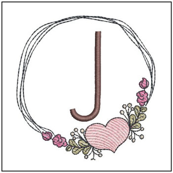 "Heart Stain  ABCs -J- Fits a 4x4"" Hoop - Machine Embroidery Designs"