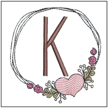 "Heart Stain  ABCs -K- Fits a 4x4"" Hoop - Machine Embroidery Designs"