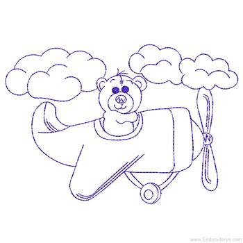 Flying Teddy Bear Redwork - Embroidery Designs