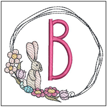 "Bunny Wreath ABCs -B- Fits a 4x4"" Hoop - Machine Embroidery Designs"