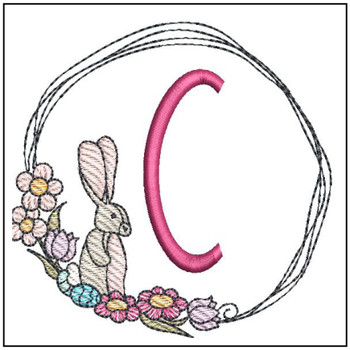 "Bunny Wreath ABCs -C- Fits a 4x4"" Hoop - Machine Embroidery Designs"
