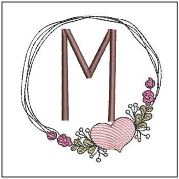 "Heart Stain  ABCs -M- Fits a 4x4"" Hoop - Machine Embroidery Designs"