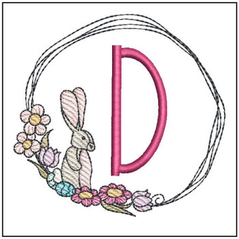 "Bunny Wreath ABCs -D- Fits a 4x4"" Hoop - Machine Embroidery Designs"