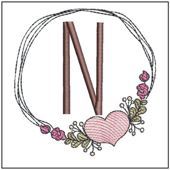 "Heart Stain  ABCs -N- Fits a 4x4"" Hoop - Machine Embroidery Designs"