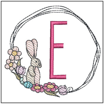 "Bunny Wreath ABCs -E- Fits a 4x4"" Hoop - Machine Embroidery Designs"