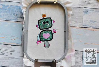 "Robot Applique - Fits a 4x4"" and 5x7"" hoop - Machine Embroidery Designs"