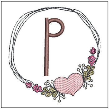 Heart Stain  ABCs - P - Embroidery Designs