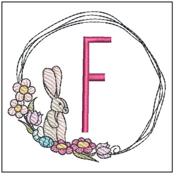 Bunny Wreath ABCs - F - Embroidery Designs