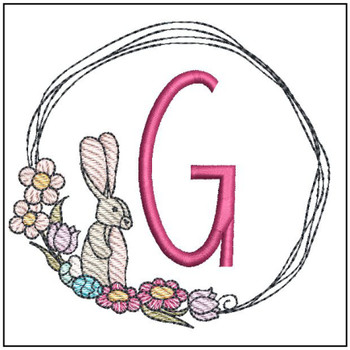 Bunny Wreath ABCs - G - Embroidery Designs