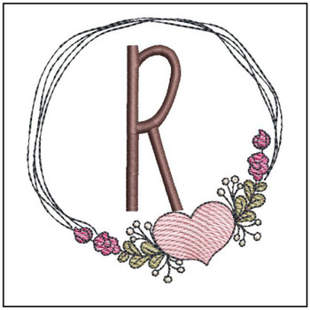 Heart Stain  ABCs - R - Embroidery Designs