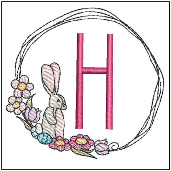 Bunny Wreath ABCs - H - Embroidery Designs