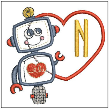 Robot Applique ABCs - N - Embroidery Designs