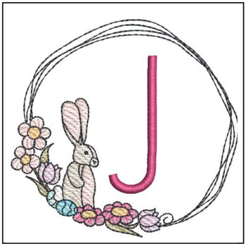 Bunny Wreath ABCs - J- Embroidery Designs