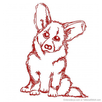 Super Cute Corgi Redwork - Embroidery Designs