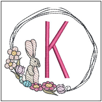 Bunny Wreath ABCs - K - Embroidery Designs