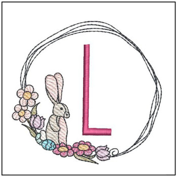 Bunny Wreath ABCs - L - Embroidery Designs