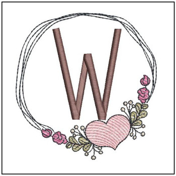 Heart Stain  ABCs - W - Embroidery Designs