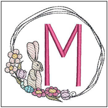 Bunny Wreath ABCs - M- Embroidery Designs