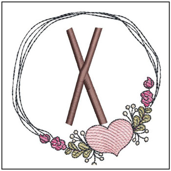 Heart Stain  ABCs - X - Embroidery Designs