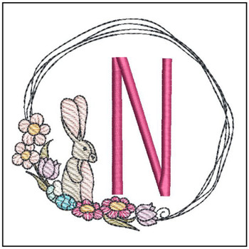Bunny Wreath ABCs - N - Embroidery Designs