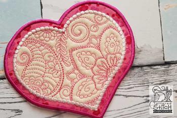 "Mehndi Heart Coaster - Fits a 4x4"" & 5x7"" Hoop - Machine Embroidery Designs"