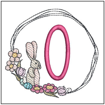 Bunny Wreath ABCs - O - Embroidery Designs