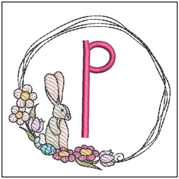Bunny Wreath ABCs - P - Embroidery Designs