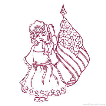Patriotic Girl Redwork - Embroidery Designs