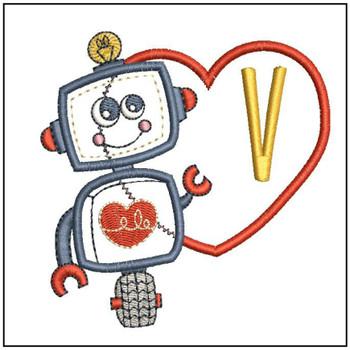 Robot Applique ABCs - V - Embroidery Designs