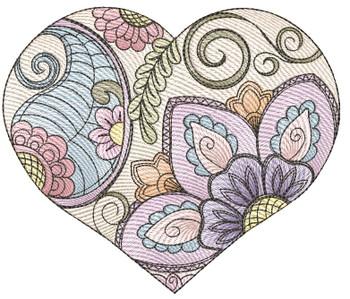"Mehndi Heart - Fits a 4x4"", 5x7"" &  6x10"" Hoop - Machine Embroidery Designs"