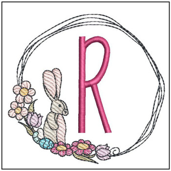 Bunny Wreath ABCs - R - Embroidery Designs