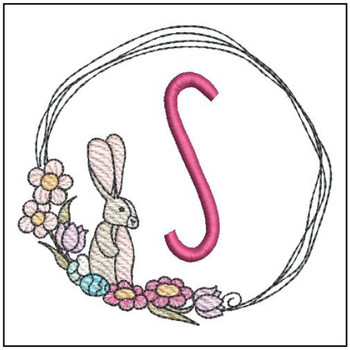 Bunny Wreath ABCs - S - Embroidery Designs