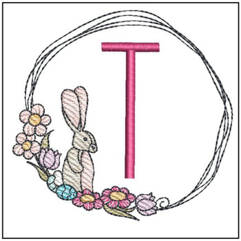 Bunny Wreath ABCs - T - Embroidery Designs