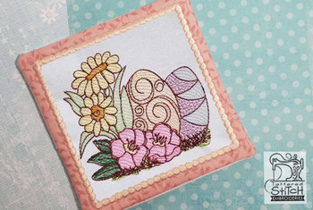 "Daisies & Eggs Mug Rug - Fits a 5x7"" and  Hoop - Machine Embroidery Designs"