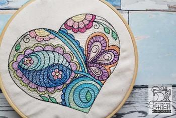 "Mehndi Heart 2 - Fits a 4x4"", 5x7"" &  6x10"" Hoop - Machine Embroidery Designs"