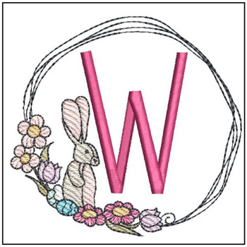 Bunny Wreath ABCs - W - Embroidery Designs